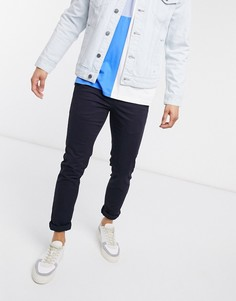 Темно-синие брюки чиносы скинни New Look-Темно-синий