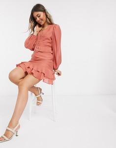 """Платье мини рыжего цвета с рукавами """"летучая мышь"""" и оборкой на подоле ASOS DESIGN-Красный"""