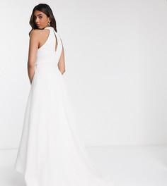 Сетчатое свадебное платье макси цвета слоновой кости с асимметричной юбкой и карманами Bariano-Белый