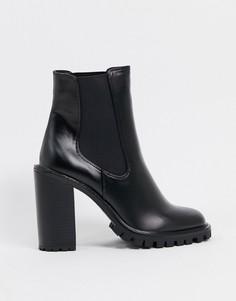 Черные ботинки челси на высоком каблукеASOS DESIGN-Черный