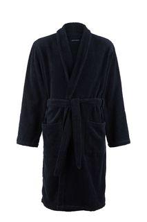 Синий хлопковый халат с двумя карманами Emporio Armani