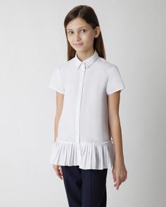 Белая блузка с коротким рукавом Gulliver 220GSGC2212, размер 170