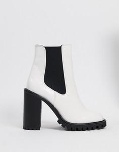 Белые ботинки челси на высоком каблуке и массивной подошве ASOS DESIGN-Белый