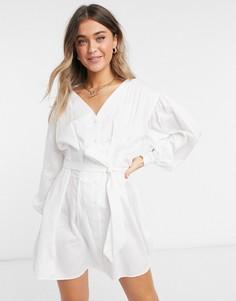 Белое поплиновое платье-рубашка мини Miss Selfridge-Белый