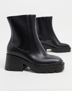 Черныерезиновые ботинкина каблуке ASOS DESIGN-Черный