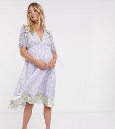 Платье с цветочным принтом и атласной отделкой ASOS DESIGN Maternity-Мульти