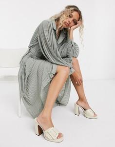 Плиссированное платье-рубашка макси в горошек с объемными рукавамиObject-Мульти