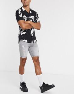 Серые джинсовые шорты скинни Topman-Серый