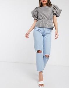 Прямые джинсы со рваной отделкой и необработанными краями ASOS DESIGN-Синий