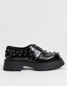 Черные туфли на массивной подошве с заклепками ASOS DESIGN-Черный