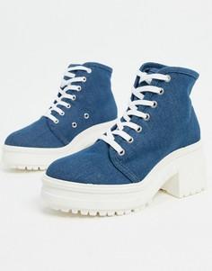 Синиепарусиновые ботинки на каблукеASOS DESIGN-Синий