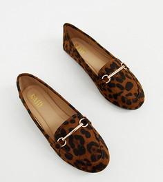 Туфли для широкой стопы на плоской подошве с леопардовым принтом и пряжками RAID Viera-Мульти