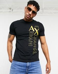 Черная футболка с контрастным принтом Armani Exchange-Черный