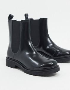 Черные ботинки челси из искусственной кожи Monki Nori-Черный