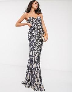 Платье-бандо макси с темно-синей отделкой Bariano-Темно-синий