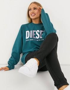Сине-зеленый джемпер с круглым вырезом и логотипом металлик Diesel-Синий