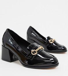 Черныелакированные лоферы для широкой стопы на среднем каблукеASOS DESIGN-Черный