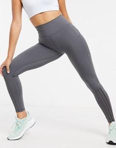 Серые тайтсы adidas training-Серый
