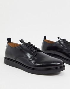 Блестящие черные кожаные туфли со шнуровкойH by Hudson-Черный