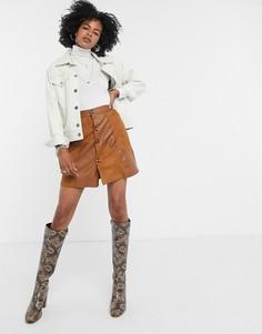 Мини-юбка из искусственной замши в стиле пэтчворк Lost Ink-Коричневый