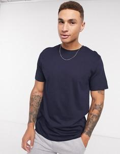 Темно-синяя облегающая футболка Topman-Темно-синий