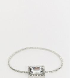 Серебристый эластичный браслет с кристаллами и подвеской ASOS DESIGN Curve-Серебряный