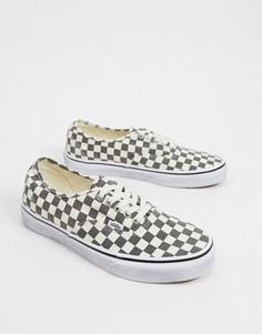 Черно-белые кроссовки с шахматным узором Vans Authentic-Черный