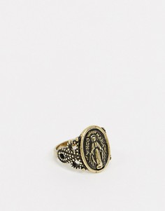 Золотистое кольцо со Святым Христофором Reclaimed Vintage inspired-Золотой