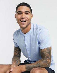 Синяя обтягивающая рубашка с короткими рукавами Hollister-Синий