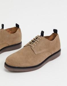 Серо-коричневые замшевые туфли на шнуровке H By Hudson-Бежевый
