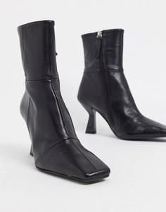 Черные кожаные ботинки на каблуке с квадратным носком ASOS DESIGN-Черный
