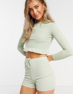Облегающие шорты шалфейно-зеленого цвета In The Style x Demi Jones-Зеленый