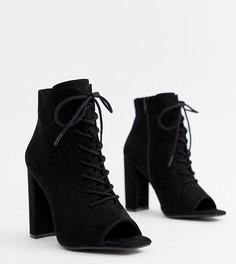 Ботинки на блочном каблуке и шнуровкой New Look-Черный