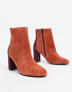 Кожаные ботинки рыжего цвета на каблуке ASOS DESIGN-Оранжевый