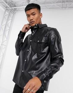 Черная рубашка навыпуск из искусственной кожи ASOS DESIGN-Черный