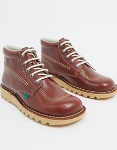 Светло-коричневые кожаные высокие ботинки Kickers-Светло-коричневый