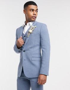Синий супероблегающий пиджак в ломаную клетку с добавлением шерсти ASOS DESIGN wedding