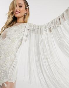 Белое свадебное платье с бахромой и лифом-аппликацией A Star Is Born-Белый