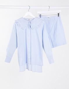 Свободная рубашка в полоску от комплекта Glamorous-Синий