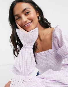 Лавандовая блузка в клетку с присборенной отделкой и вышивкой ришелье Vero Moda-Мульти