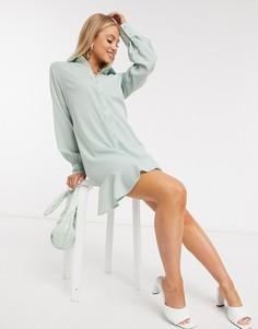 Шалфейно-зеленое платье-рубашка с оборкой Missguided-Зеленый