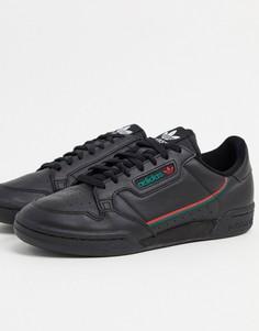Черные кроссовки с алыми и зелеными вставкамиadidas Originals Continental 80-Черный