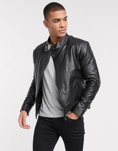 Кожаная куртка с высоким воротом и черной отделкой Barneys Originals-Черный