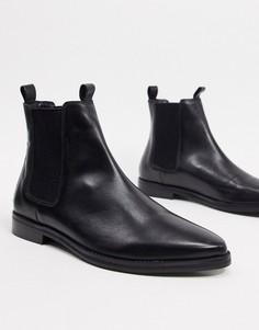 Черные кожаные туфли челси с петлей на заднике River Island-Черный