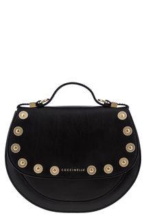 Маленькая кожаная сумка с металлическим декором Mini Bag Coccinelle