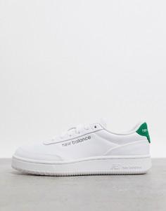 Бело-зеленые кроссовки New Balance-Белый