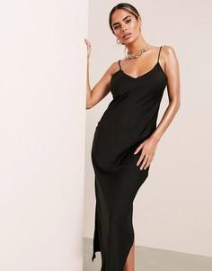 Черное платье-комбинация макси ASOS LUXE-Черный