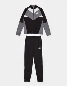 Черный спортивный костюм в стиле ретро Puma