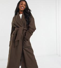 Коричневое пальто с поясом ASOS DESIGN Tall-Коричневый