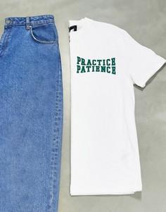 """Белая футболка с принтом """"wellness"""" на груди ASOS DESIGN-Белый"""